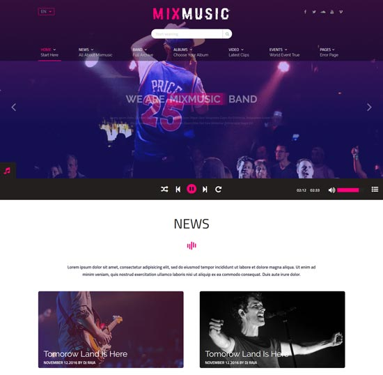 mixmusic band musician html5 template