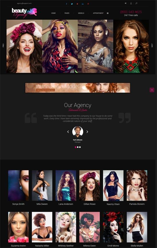 models agency model fashion portfolio wordpress theme