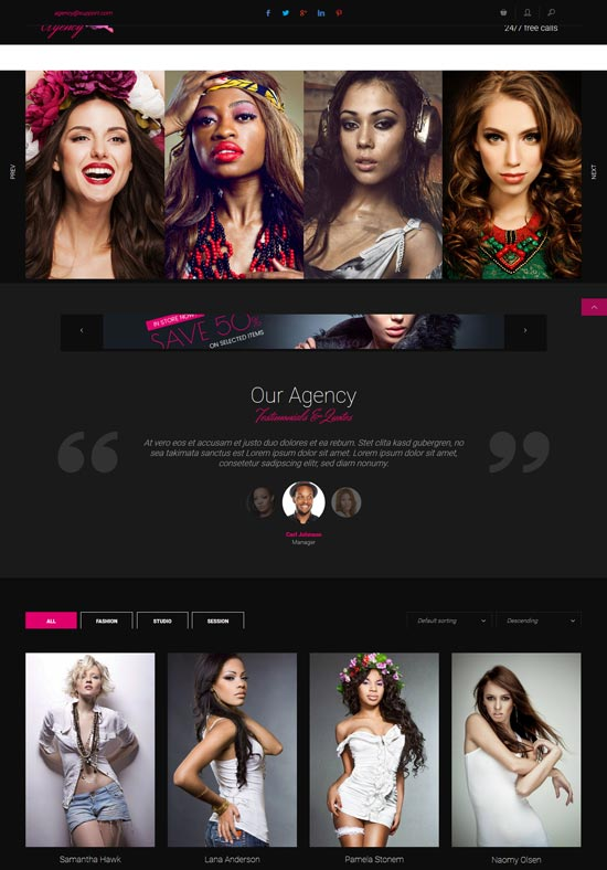 models agency portfolio html template