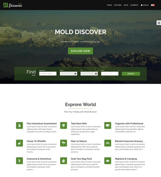 mold discover travel bootstrap template