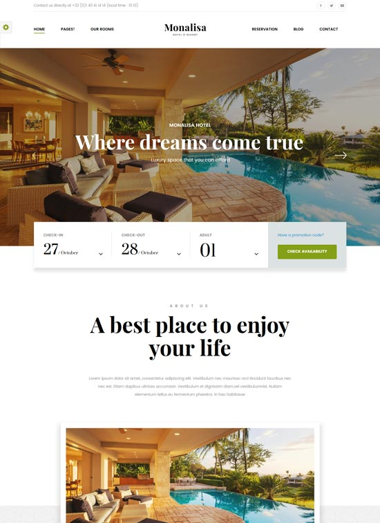monalisa hotel management WordPress theme