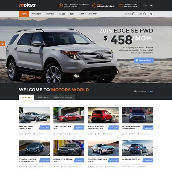 motors car dealership WordPress theme
