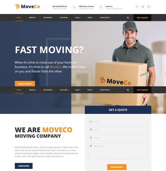 moveco logistics company WordPress theme