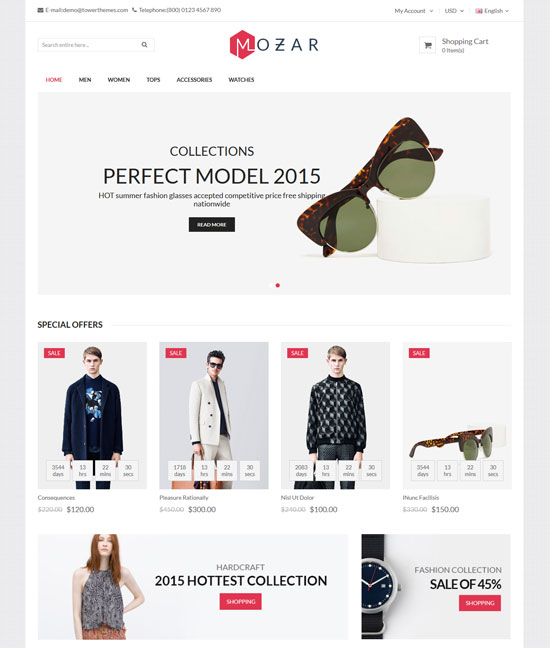 mozar responsive opencart clothing theme