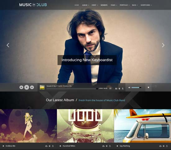 music night club WordPress theme