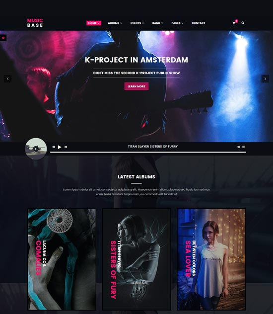 musicbase band artist html template