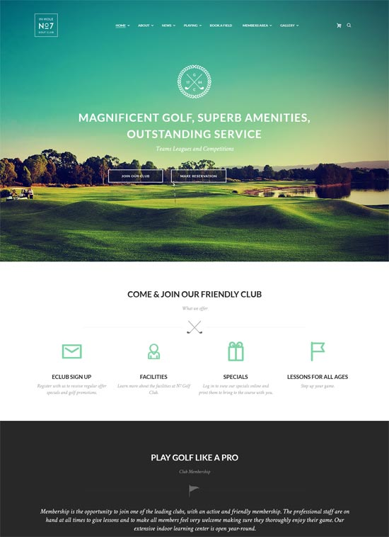 n7 golf club sports site template