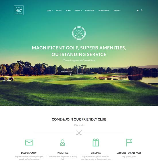 n7 golf club sports wp theme