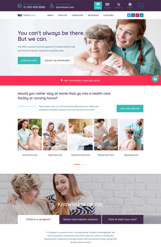 nanocare home health care wordpress theme