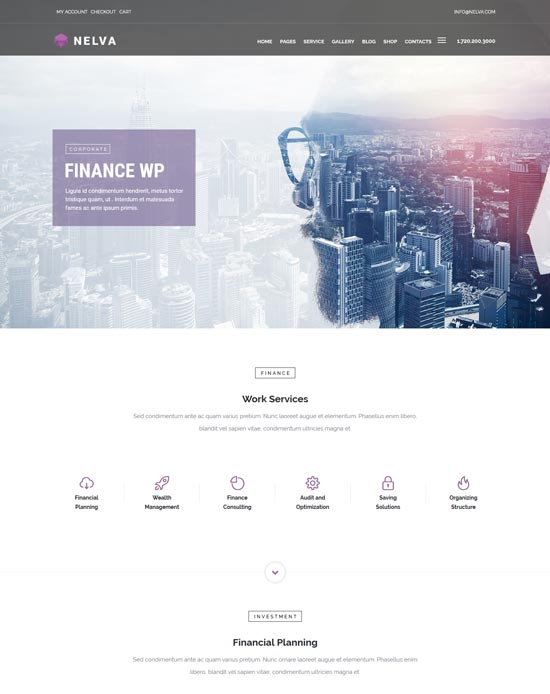 nelva finance consulting broker WordPress theme