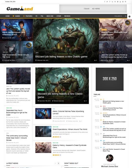 newsgamer wordpress news theme