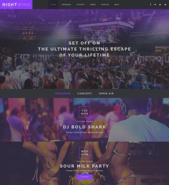 nightwing night club website template