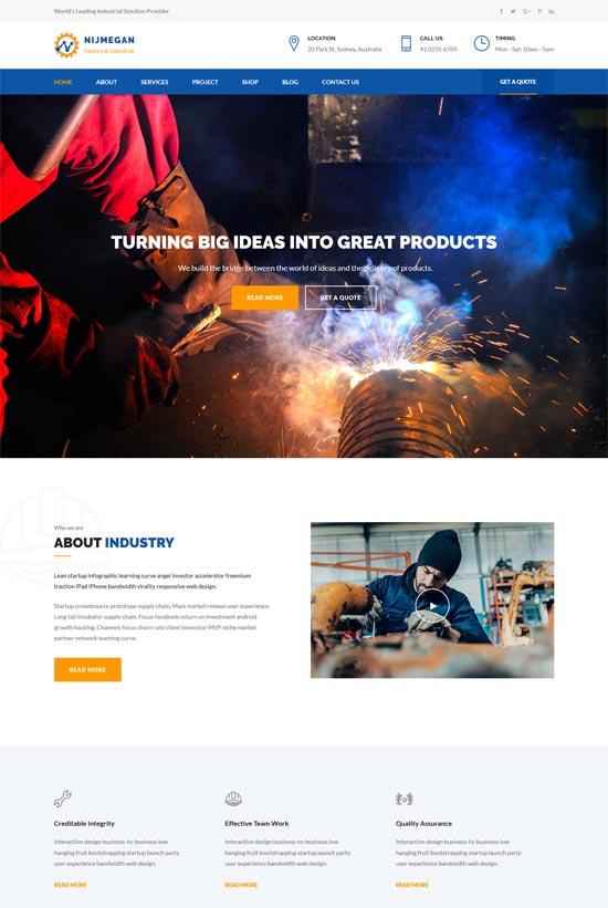 nijmegan factory industrial html template