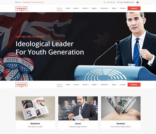 nominee political leader WordPress theme