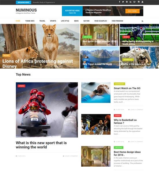 numinous free magazine style wordpress theme