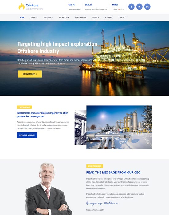 offshore industrial business wp theme