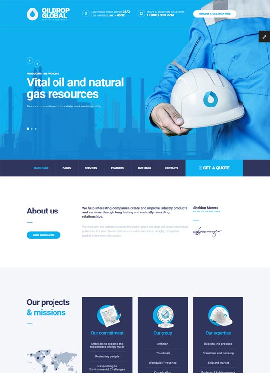 oildrop oil gas industrial html template