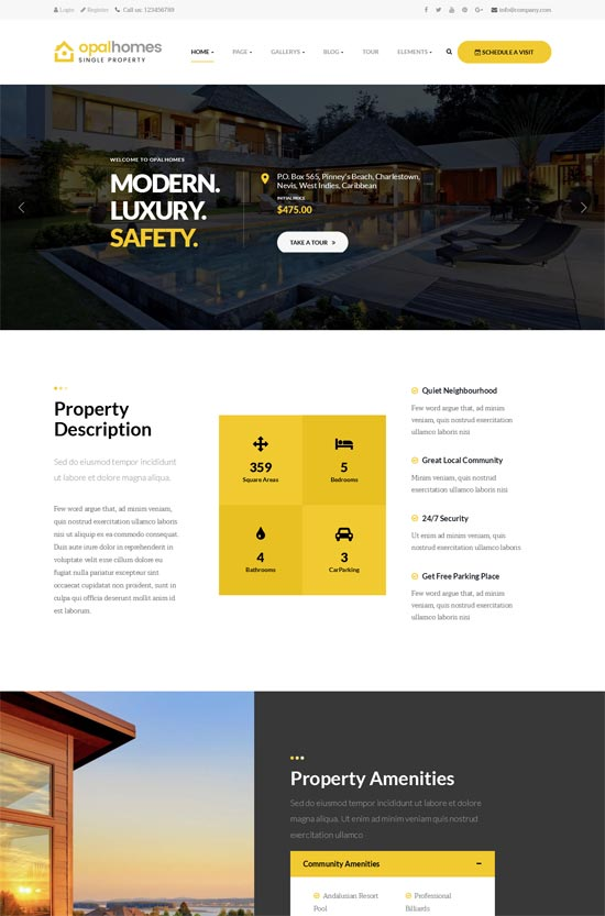 opalhomes single property wordpress theme