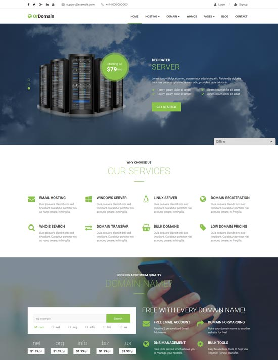 ordomain whmcs hosting WordPress theme