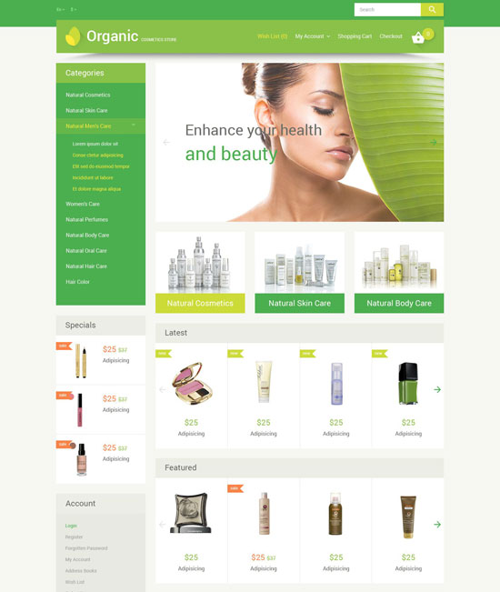 organic cosmetics opencart theme