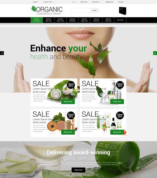 Organic Cosmetics Store OpenCart Theme