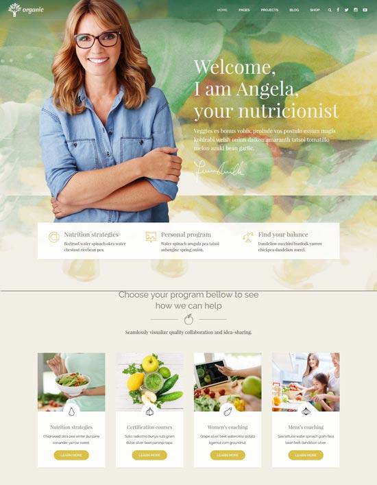 organic food nutritionist WordPress theme