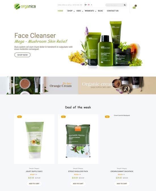 organica natural cosmetics magento theme