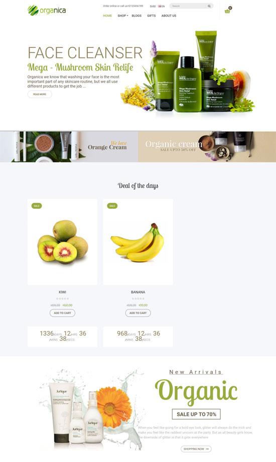 organica natural cosmetics opencart theme