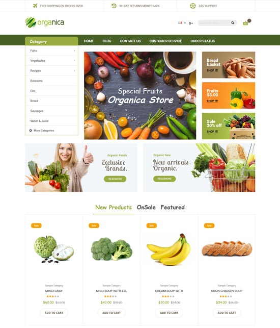 organica organic food magento theme