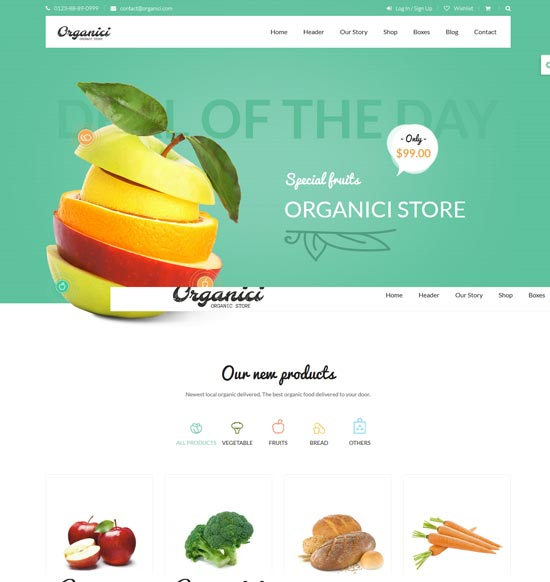 organici organic store woocommerce theme