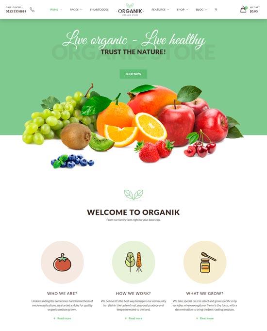 organik organic store farm woocomerce theme