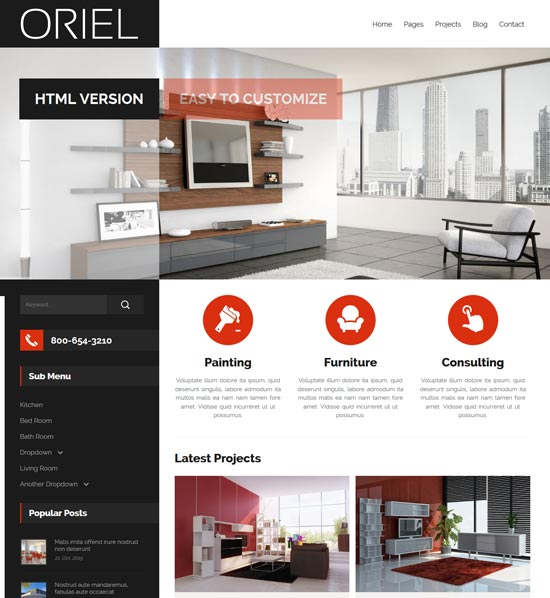 oriel interior design html5 template