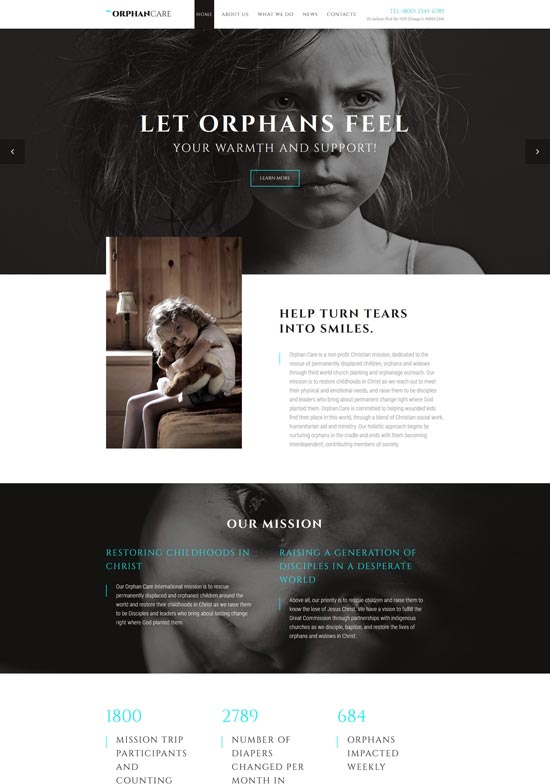 orphancare child charity website template