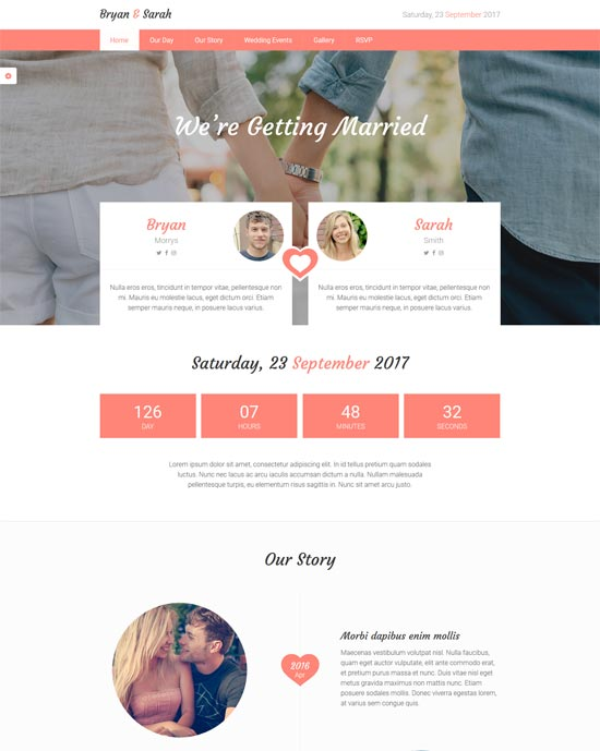 our love responsive html wedding template