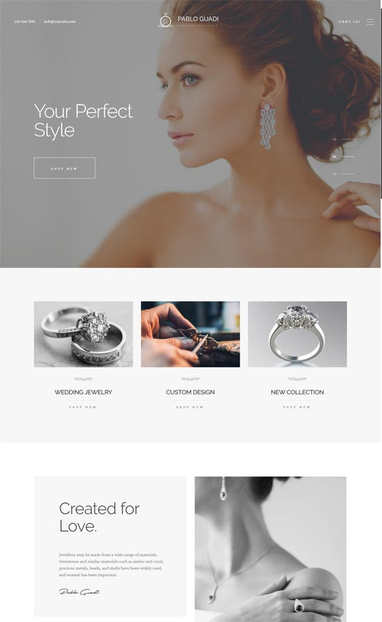 pablo guadi jewelry designer jewelry online shop wp theme