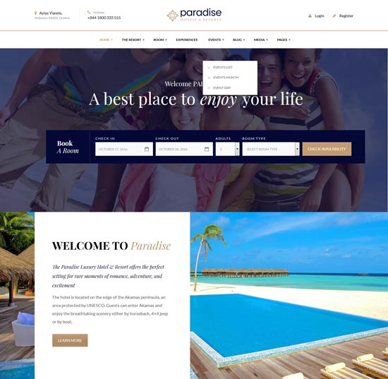paradise hotels WordPress theme