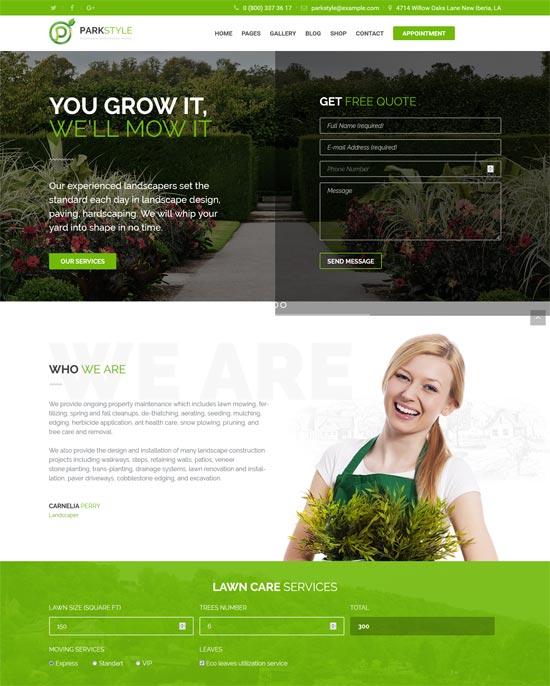 parkstyle landscape design wordpress theme