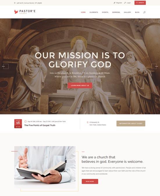 pastor church religion wp theme