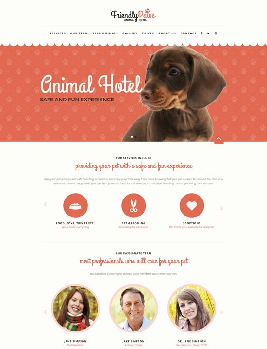 paws animal html template