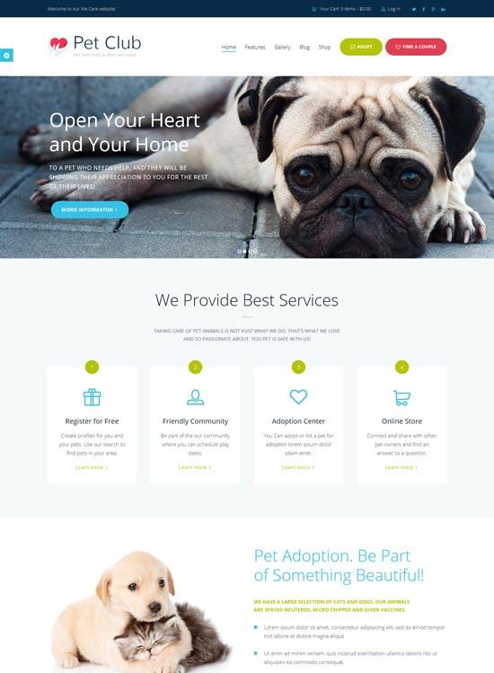 pet club WordPress theme