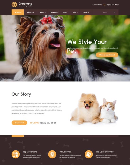 pet grooming veterinary theme