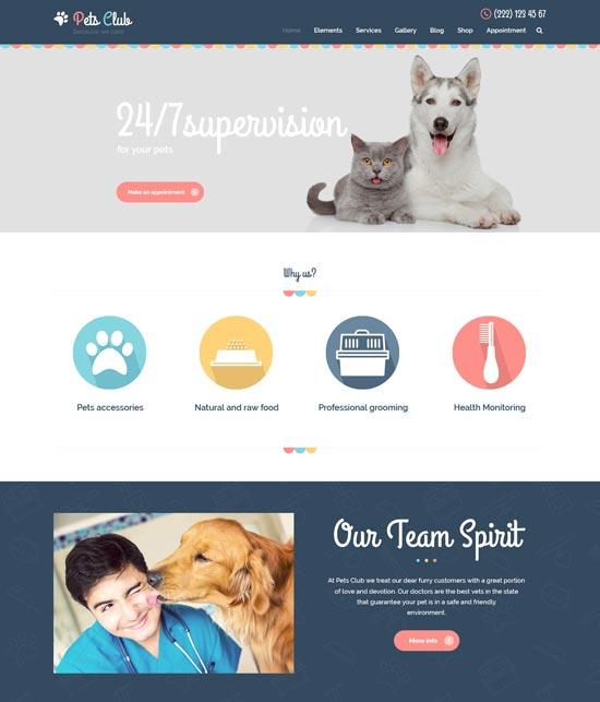 pets club care shop WordPress theme