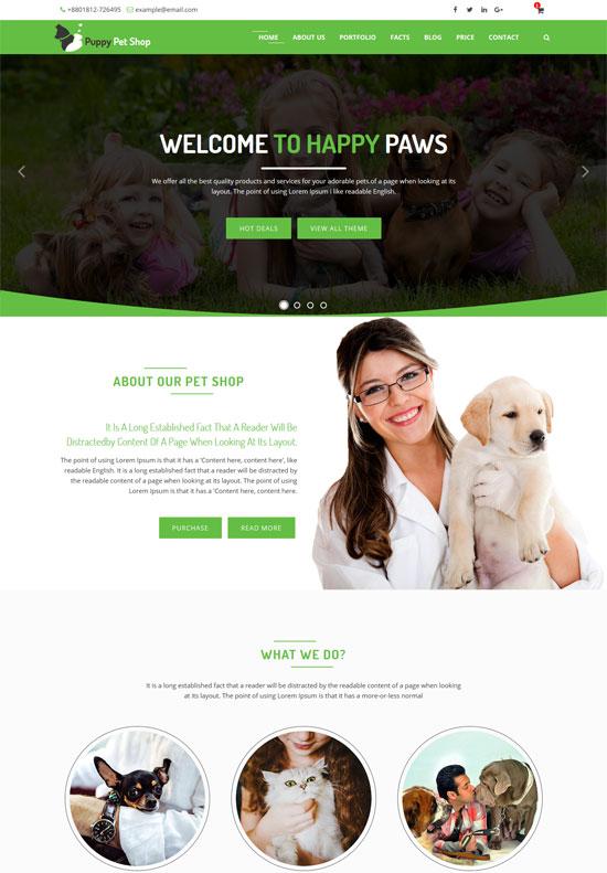 petshop html5 website template