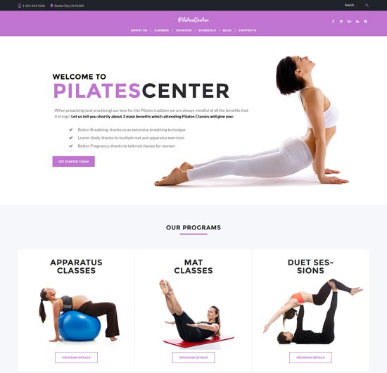 pilates wordpress fitness theme