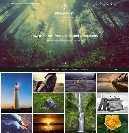 pixgraphy free responsive photography WordPress theme