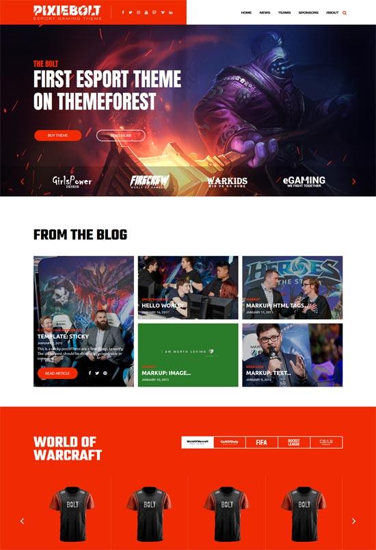 pixiebolt esports gaming wordpress theme
