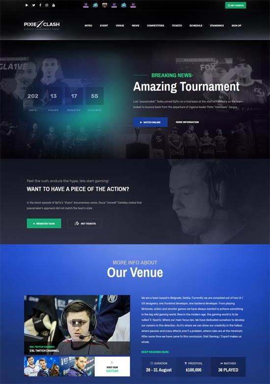 pixieclash esports gaming wordpress theme