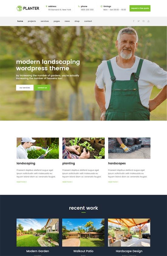 planter landscaping gardening wordpress theme