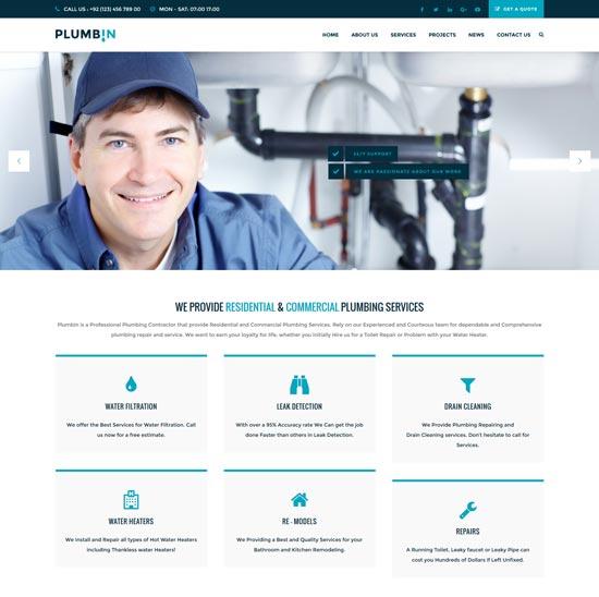 plumbin plumbing WordPress theme