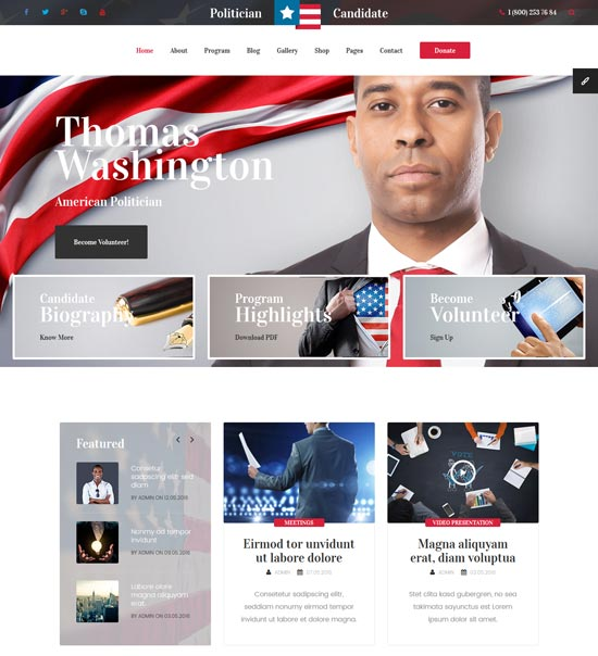 political candidate html template